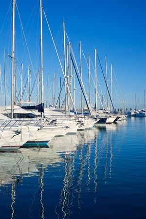 marina water: Blue Denia marina port in Alicante Spain with boats in a row