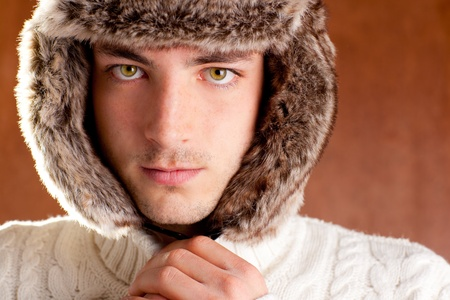 autumn winter man with brown fur  hat portrait Stock Photo - 13123832
