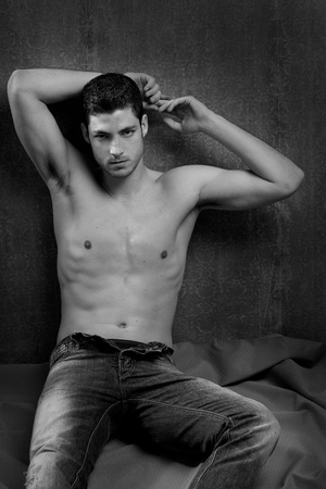 Black and white sexy young shirtless man handsome photo