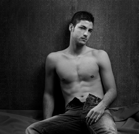 Black and white sexy young shirtless man handsome Stock Photo - 13123505