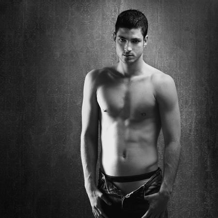 Black and white sexy young denim shirtless man on retro grunge background Stock Photo - 13123256