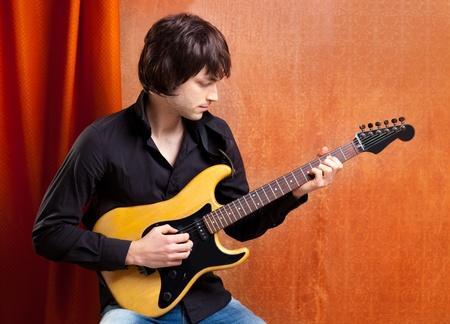 british indie pop rock look young musician guitar player man Stock Photo - 13123413
