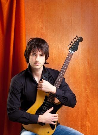 indie: british indie pop rock look young musician guitar player man
