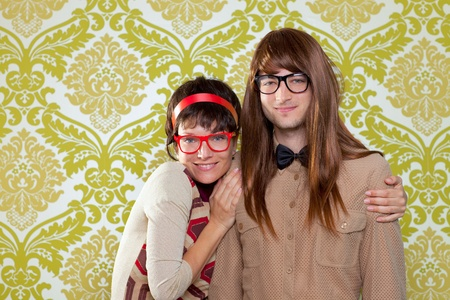 ugly girl: Funny humor silly nerd couple on retro vintage wallpaper background