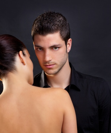 Couple in love with handsome man and rear profile woman nude back Stock Photo - 13122999