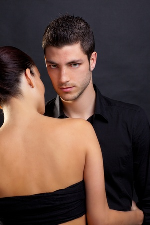 Couple in love with handsome man and rear profile woman nude back photo