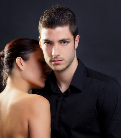 nude back: Couple in love with handsome man and rear profile woman nude back