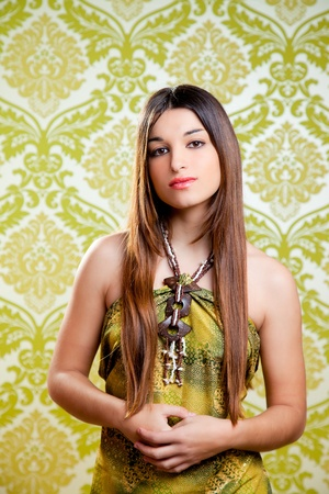 Asian Indian brunette beautiful girl with long hair on retro wallpaper Stock Photo - 13182038