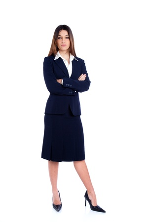 asian indian business woman full length with blue suit isolated on white photo
