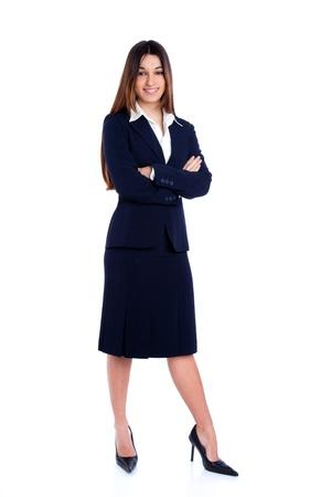 fille indienne: asiatique femme d'affaires indien longueur totale avec le costume bleu isolé sur blanc