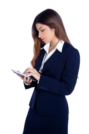 brunette business woman reading ebook tablet pc notebook and blue suit on white photo