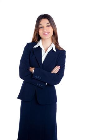 azafata: mujer asi�tica de negocios indio sonriente feliz con el traje azul aislado en blanco