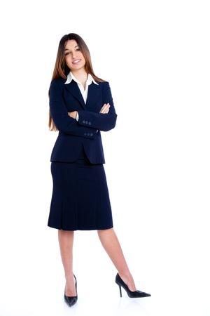 mujer cuerpo completo: asiático de Empresas en longitud de la mujer completa con traje azul aislado en blanco
