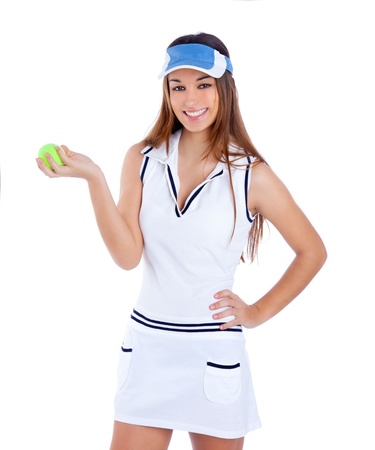 brunette tennis girl with white dress and sun visor cap with green ball photo