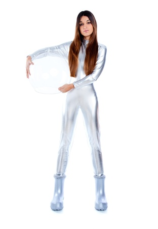 futuristic silver woman full legth holding sphere glass helmet photo