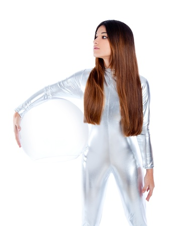 brunette futuristic silver woman holding sphere glass helmet photo