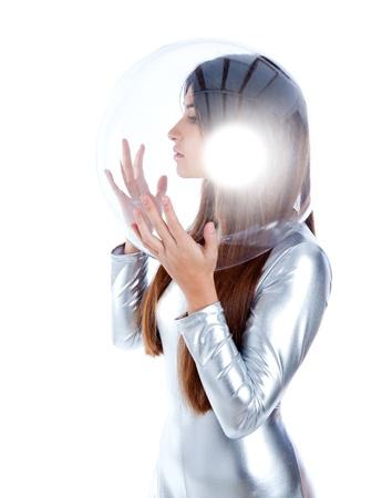spacesuit: brunette futuristic silver woman profile with sphere glass helmet