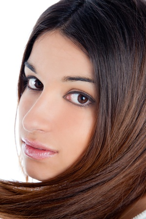 asian brunette indian woman with long hair closeup portrait photo