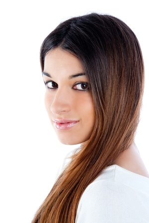 asian brunette indian woman with long hair portrait Stock Photo - 13181896