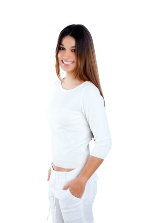 asian american: brunette indian woman on white smiling happy isolated studio background