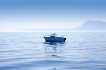 fishing cabin: boat fishing in Mediterranean Denia sea with Mongo mountain