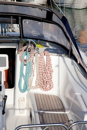 boat winches and sailboat navigation ropes detail photo