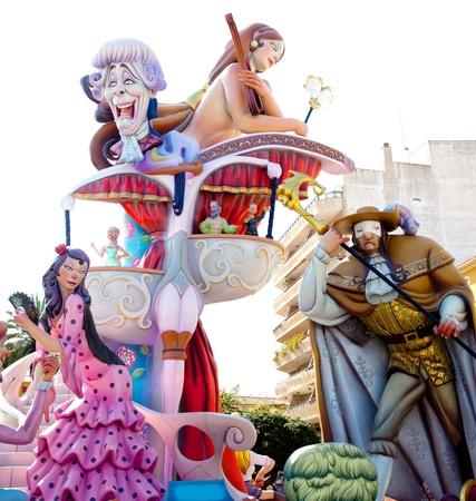Fallas fest figures on Valencia province streets
