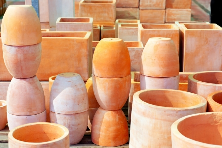 ceramics pottery big pots for garden plants stacked photo