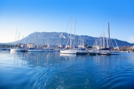 Alicante Denia port marina and Mongo in mediterranean sea of Spain photo