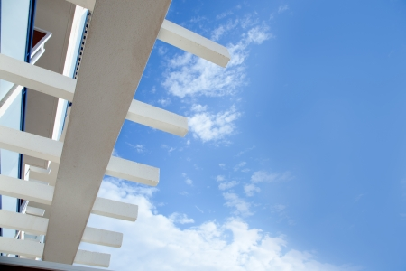 Blue sky with mediterranean white beams architecture detail Stock Photo - 13601231