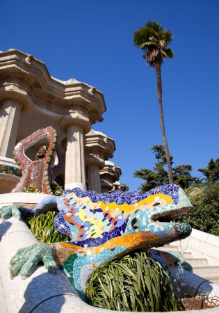 Dragon salamandra of gaudi mosaic in park guell of Barcelona photo