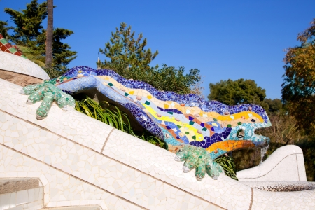 salamander: Dragon salamandra of gaudi mosaic in park guell of Barcelona