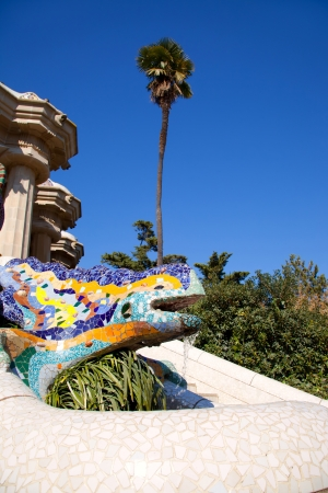 Dragon salamandra of gaudi mosaic in park guell of Barcelona Stock Photo - 13873056