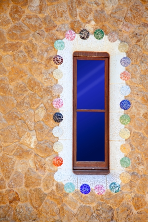 Barcelona Park Guell of Gaudi modernism mosaic details Stock Photo - 13872918