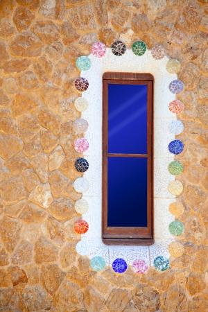 guell: Barcelona Park Guell of Gaudi modernism mosaic details