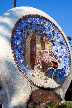 snake bar: Barcelona Park Guell of Gaudi Snake and four Catalan bars in modernism mosaic
