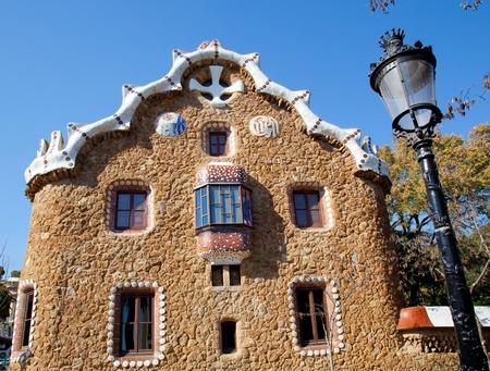 Barcelona park Guell fairy tale mosaic house on entrance
