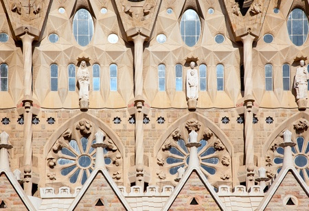 Barcelona Sagrada Familia cathedral by Gaudi architect facade details