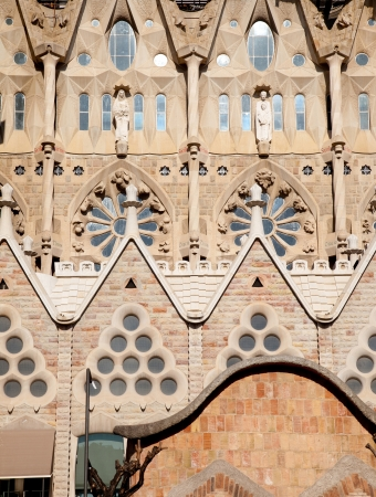 uncomplete: Barcelona Sagrada Familia cathedral by Gaudi architect facade details Editorial