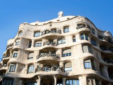 paseo: Barcelona La Pedrera facade by Gaudi architect in Paseo de Gracia Editorial