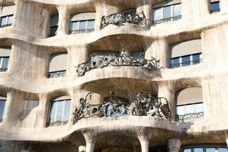 paseo: Barcelona La Pedrera facade by Gaudi architect in Paseo de Gracia Stock Photo