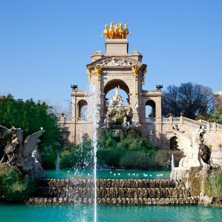 quadriga: Barcelona ciudadela park lake fountain with golden quadriga of Aurora