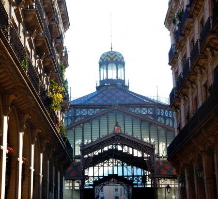 market place: Barcelona Borne market facade in arcade street