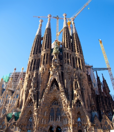 Barcelona Sagrada Familia cathedral by Gaudi architect still unfinished