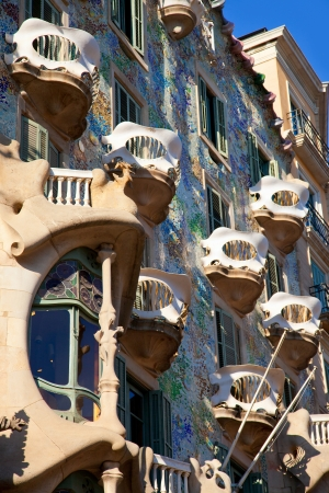 paseo: Barcelona Casa Batllo facade of Gaudi in Paseo de Gracia Stock Photo