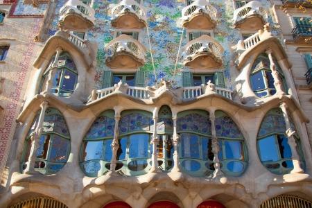 gaudi: Barcelona Casa Batllo facade of Gaudi in Paseo de Gracia Stock Photo