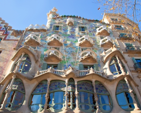 Barcelona Casa Batllo facade of Gaudi in Paseo de Gracia Stock Photo - 13861360