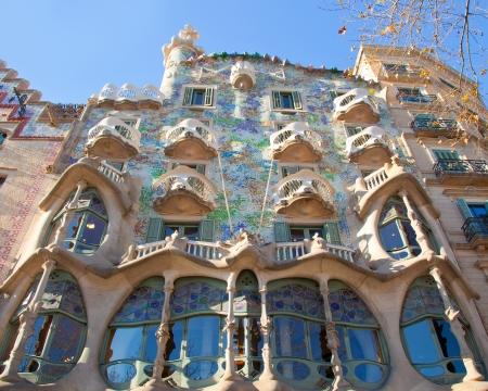 Barcelona Casa Batllo facade of Gaudi in Paseo de Gracia Stock Photo - 13861360
