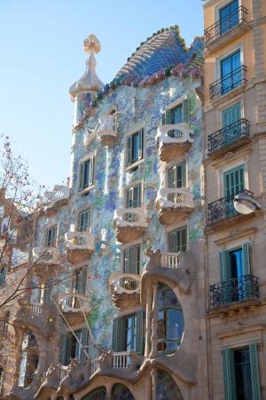 paseo: Barcelona Casa Batllo facade of Gaudi in Paseo de Gracia Editorial