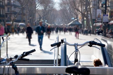 the ramblas: Barcelona Ramblas street life from bicycles Stock Photo